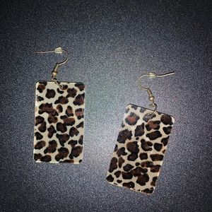 Animal print square earrings